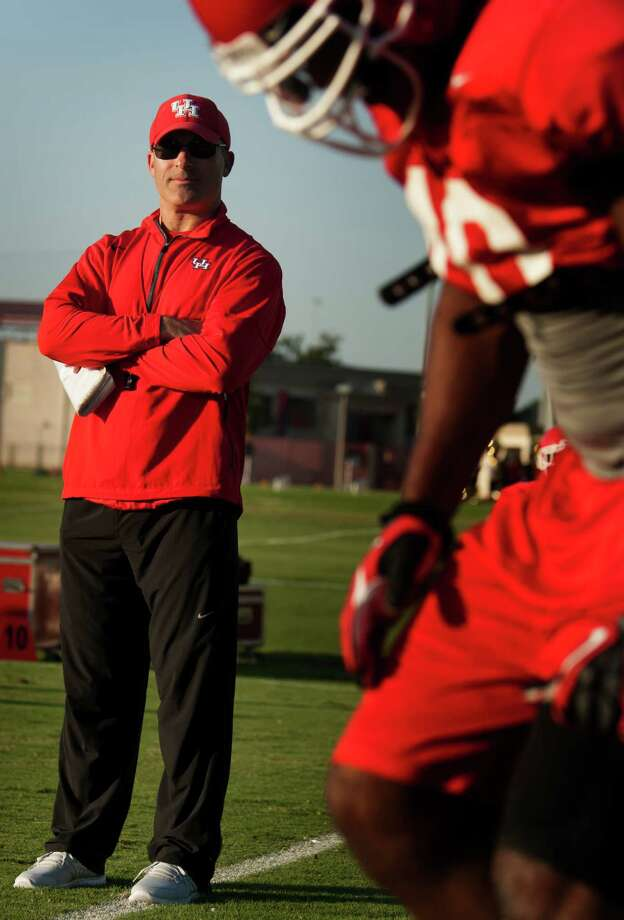 University of Houston head football coach Tony Levine observes practice during the afternoon. Photo: J. Patric Schneider, For The Chronicle / © 2012 Houston Chronicle