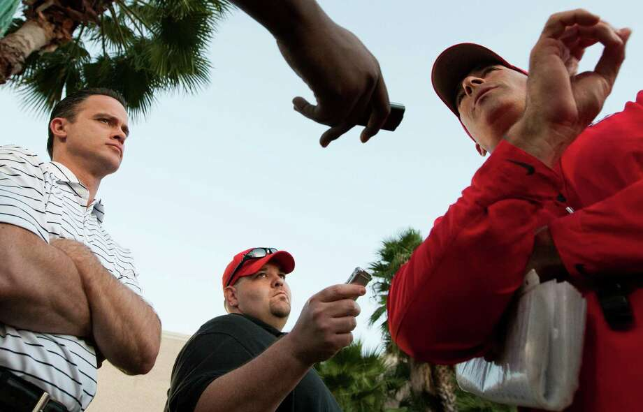 University of Houston head football coach Tony Levine talks with members of the media after practice on Monday, Oct. 1, 2012, in Houston. Photo: J. Patric Schneider, For The Chronicle / © 2012 Houston Chronicle