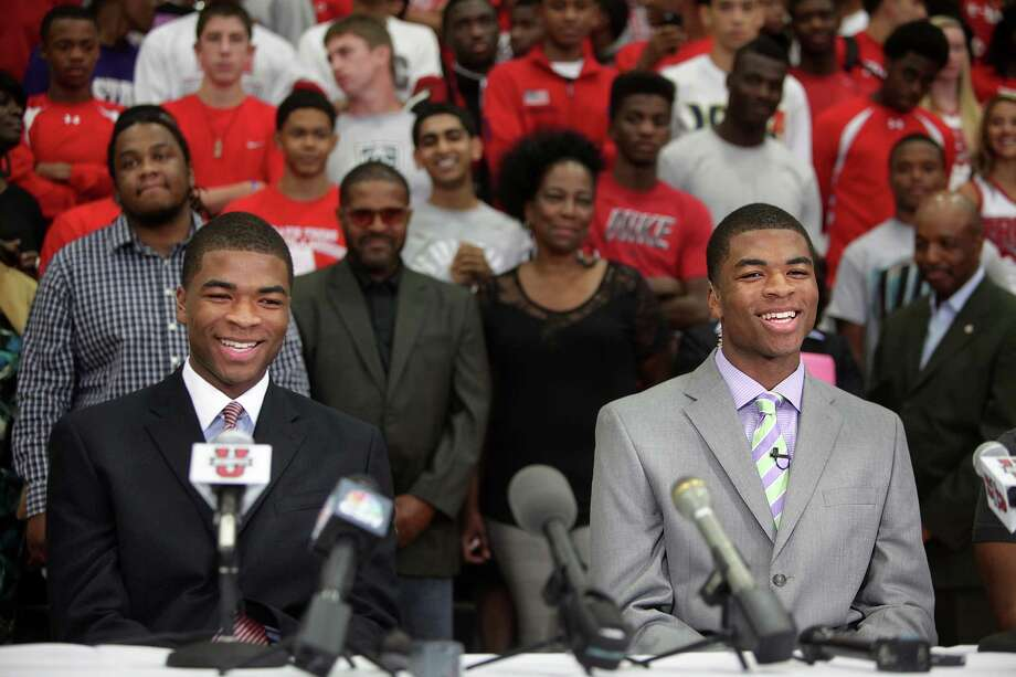 Aaron and Andrew Harrison, both rated among the top five basketball recruits in the country, have the support of their school when the Fort Bend Travis twins announce Thursday their commitment to play at Kentucky. Photo: Mayra Beltran / © 2012 Houston Chronicle