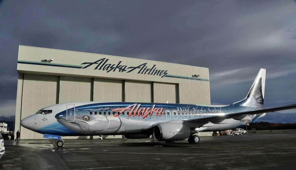 "Alaska Airlines' new ""Salmon-Thirty-Salmon II,"" a Boeing 737-800."