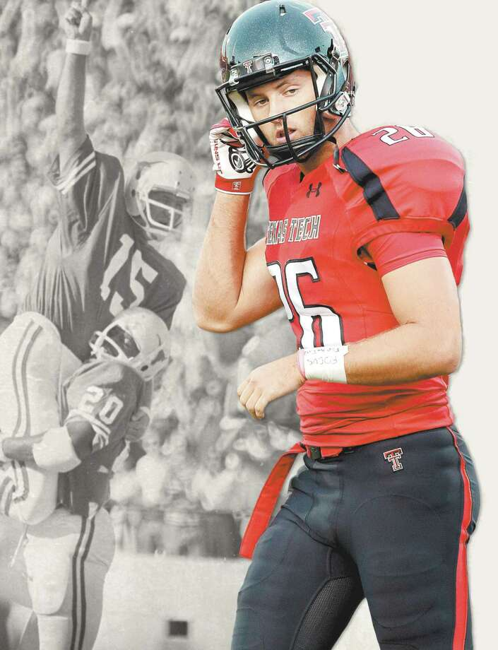 Ryan Erxleben, the son of former Texas Longhorns star and Seguin native Russell Erxleben, is making his own mark as a college football punter with Texas Tech. Photo: Courtesy Photos / Express-News Illustration