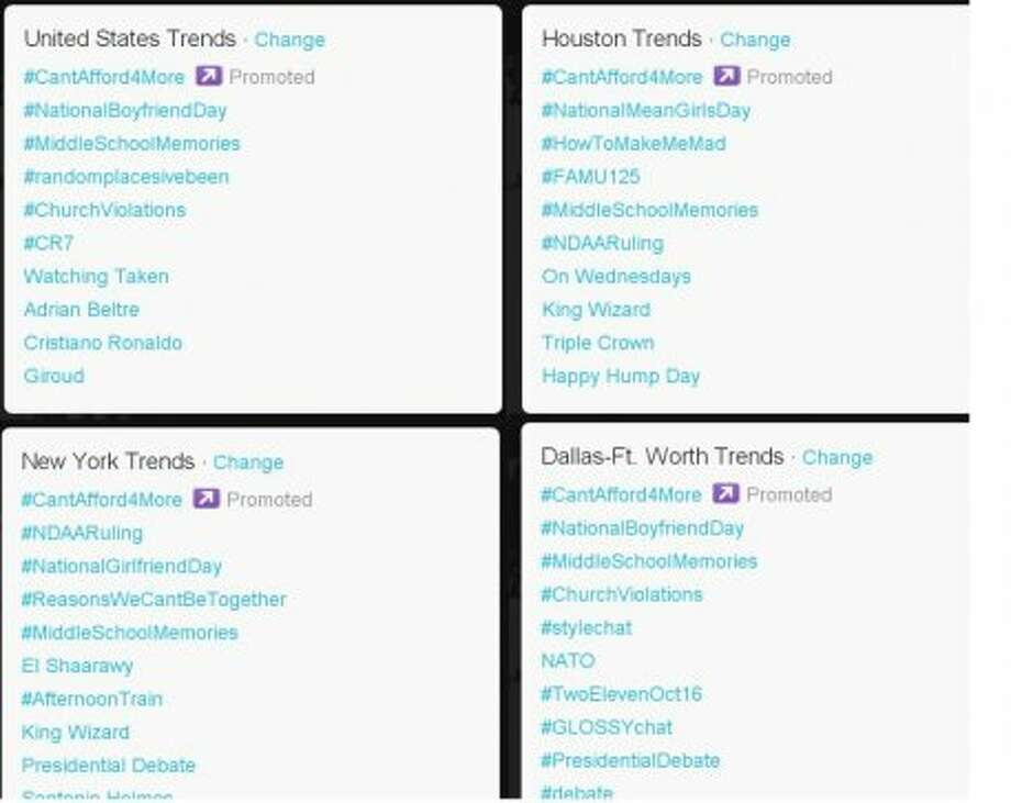 Trending topics at 4:30 p.m. ET, four and a half hours prior to the debate.  (Jana Kasperkevic / Houston Chronicle)