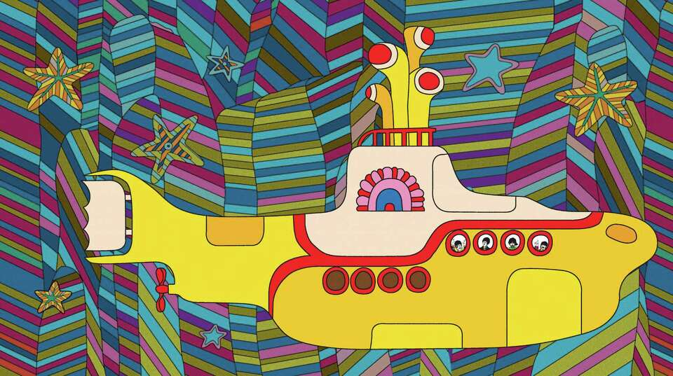 In this still undated image taken from the animated colorful Beatles movie, Yellow Submarine, a surr