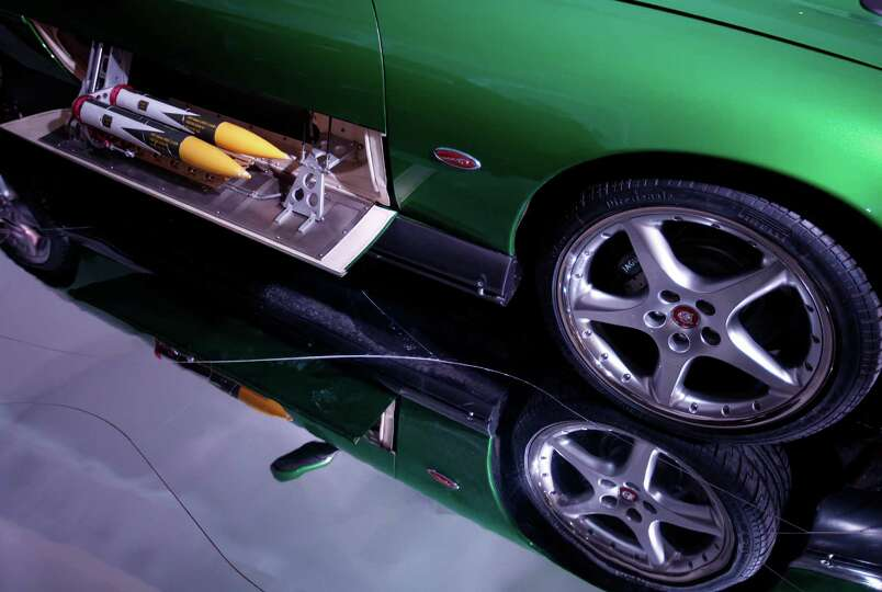 A detail of the green Jaguar XKR Convertable that was used in the James Bond movie 'Die Another Day'