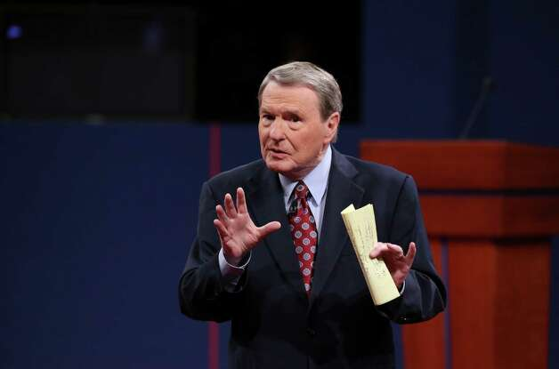 Debate moderator Jim Lehrer speaks to the audience before the presidential debate at the University of Denver, in Denver, Oct. 3, 2012. The debate on Wednesday will be the first of three between President Barack Obama and Republican presidential nominee Mitt Romney. Photo: DOUG MILLS, New York Times / NYTNS