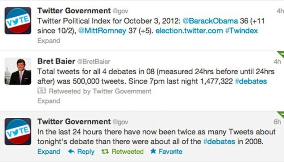 Screenshot of Twitter's @gov account's tweets prior to the debate.  (Jana Kasperkevic / Houston Chronicle)