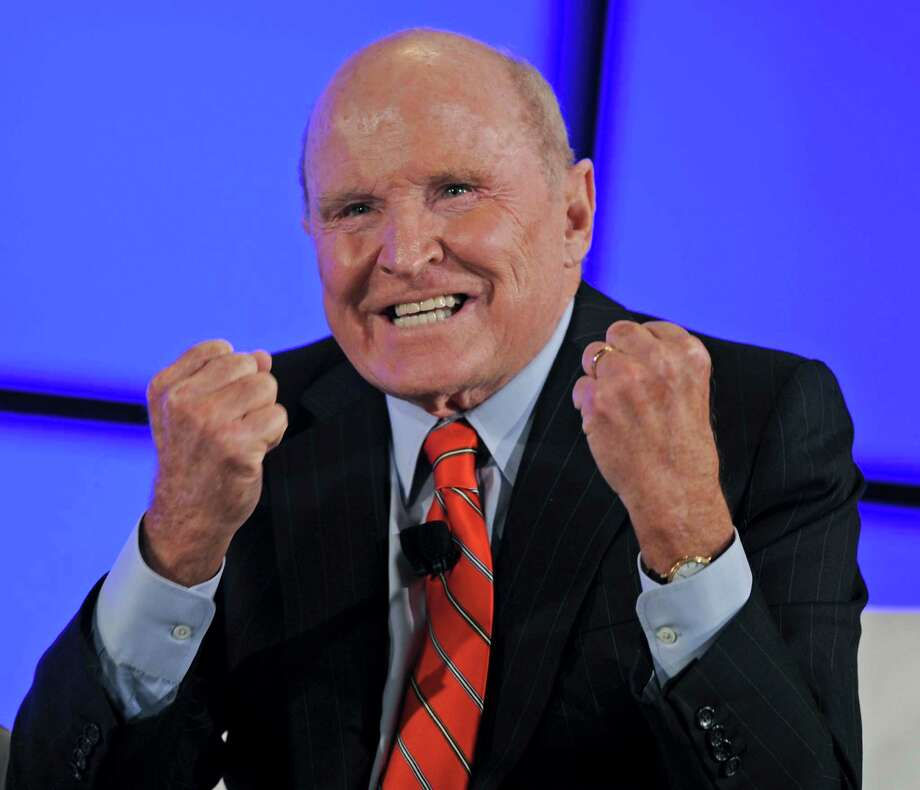 "Jack Welch, former chief executive officer of General Electric Co., speaks at the World Business Forum in New York, U.S., on Wednesday, Oct. 3, 2012. The theme of this year's conference is ""Leadership in Action."" Photographer: Peter Foley/Bloomberg *** Local Caption *** Jack Welch Photo: Peter Foley, Bloomberg / © 2012 Bloomberg Finance LP"