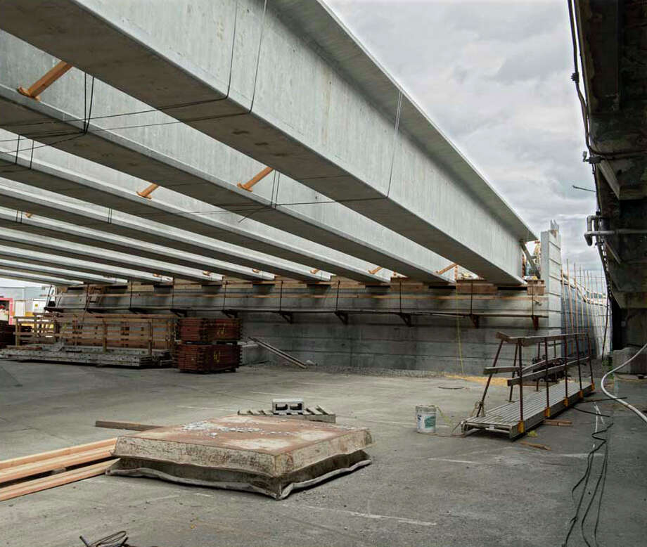 This photo shows reinforced concrete girders that support the bridge's north approach.  Photo: John Stamets