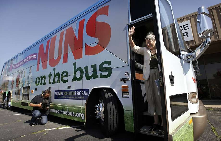 Sister Simone Campbell and her Nuns on the Bus pressure group will be taking their case to Ohio this week. Photo: Charlie Neibergall, Associated Press