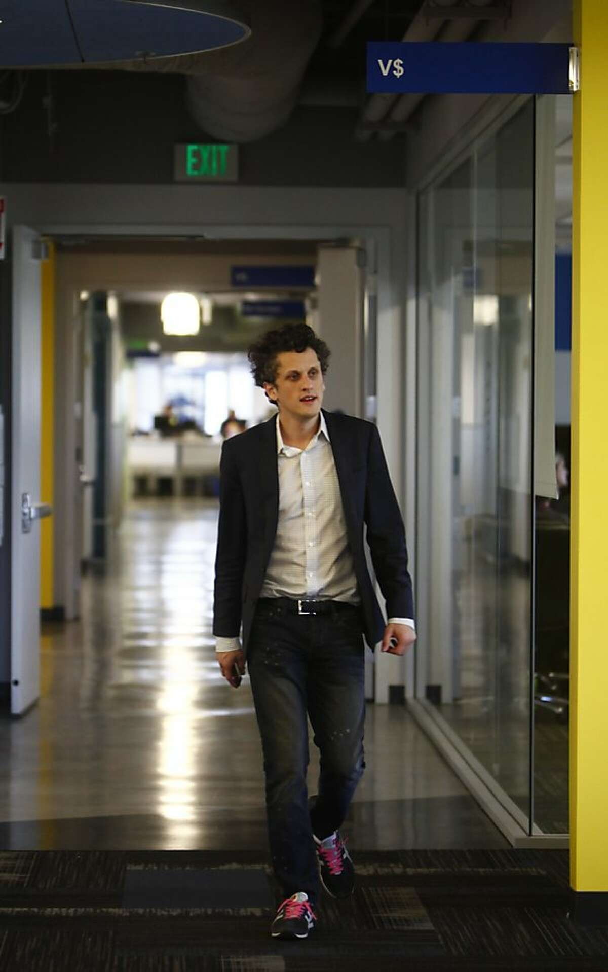 Aaron Levie, CEO of Box, walks through Box headquarters on Friday, September 28, 2012 in Los Altos, Calif.