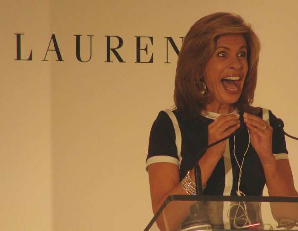 "Hoda Kotb, co-host of the fourth hour of the television ""Today: show with Kathie Lee Gifford, was guest speaker at the 2nd annual Pink Aid/Pink Chairs event held at Mitchells of Westport on Thursday. Photo: Meg Barone / Westport News freelance"