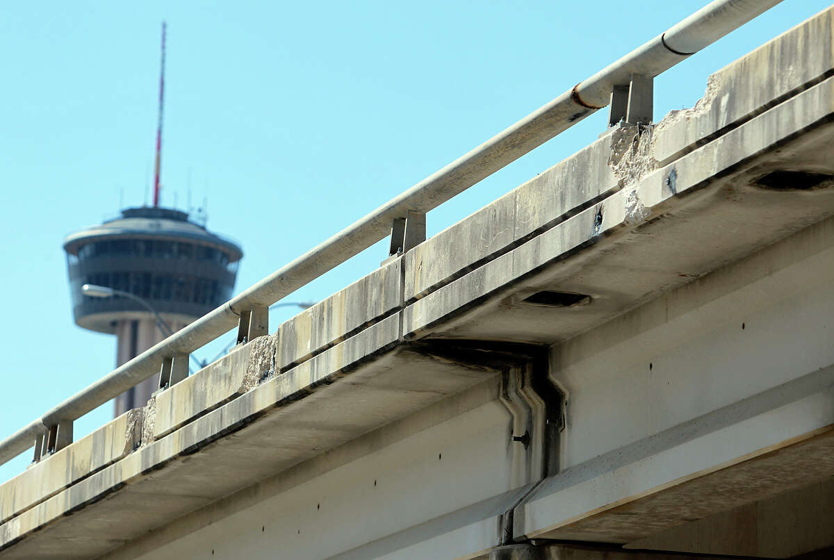 Damage to the guardrail along the elevated portion of I-37 downtown has been partly repaired.