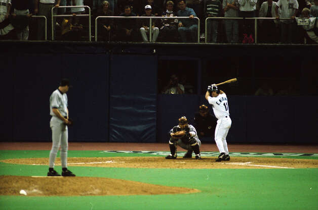 This image was taken just before The Double – Edgar Martinez's hit that put the Mariners over the Yankees in Game 5 of the 1995 AL Division Series – and was not published until being pulled from the seattlepi.com archive in Oct. 2012. The negatives are preserved at the Museum of History and Industry, which is a longtime partner of the P-I. This previously unpublished image, which has not been cropped from the full frame, was taken Oct. 8, 1995. Photo: Grant M. Haller/seattlepi.com/MOHAI