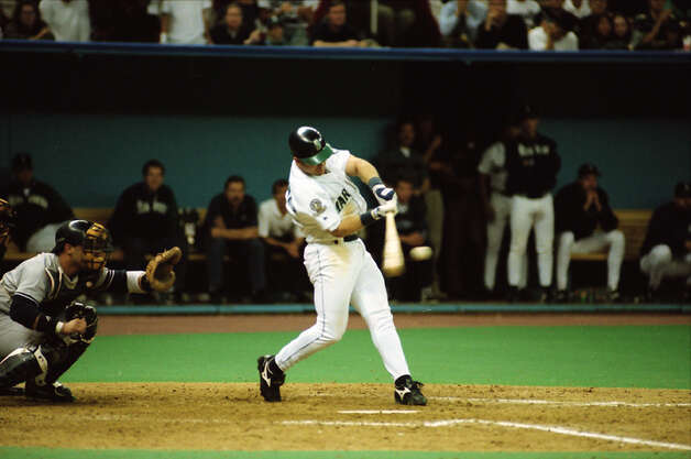 This image was taken during The Double – Edgar Martinez's hit that put the Mariners over the Yankees in Game 5 of the 1995 AL Division Series – and was not published until being pulled from the seattlepi.com archive in Oct. 2012. The negatives are preserved at the Museum of History and Industry, which is a longtime partner of the P-I. This previously unpublished image, which has not been cropped from the full frame, was taken Oct. 8, 1995. Photo: Mike Urban/seattlepi.com/MOHAI