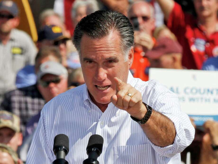 Republican presidential candidate, former Massachusetts Gov. Mitt Romney gestures during a rally in Abingdon, Va., Friday, Oct. 5, 2012.(AP Photo/Steve Helber) Photo: AP, STF / AP