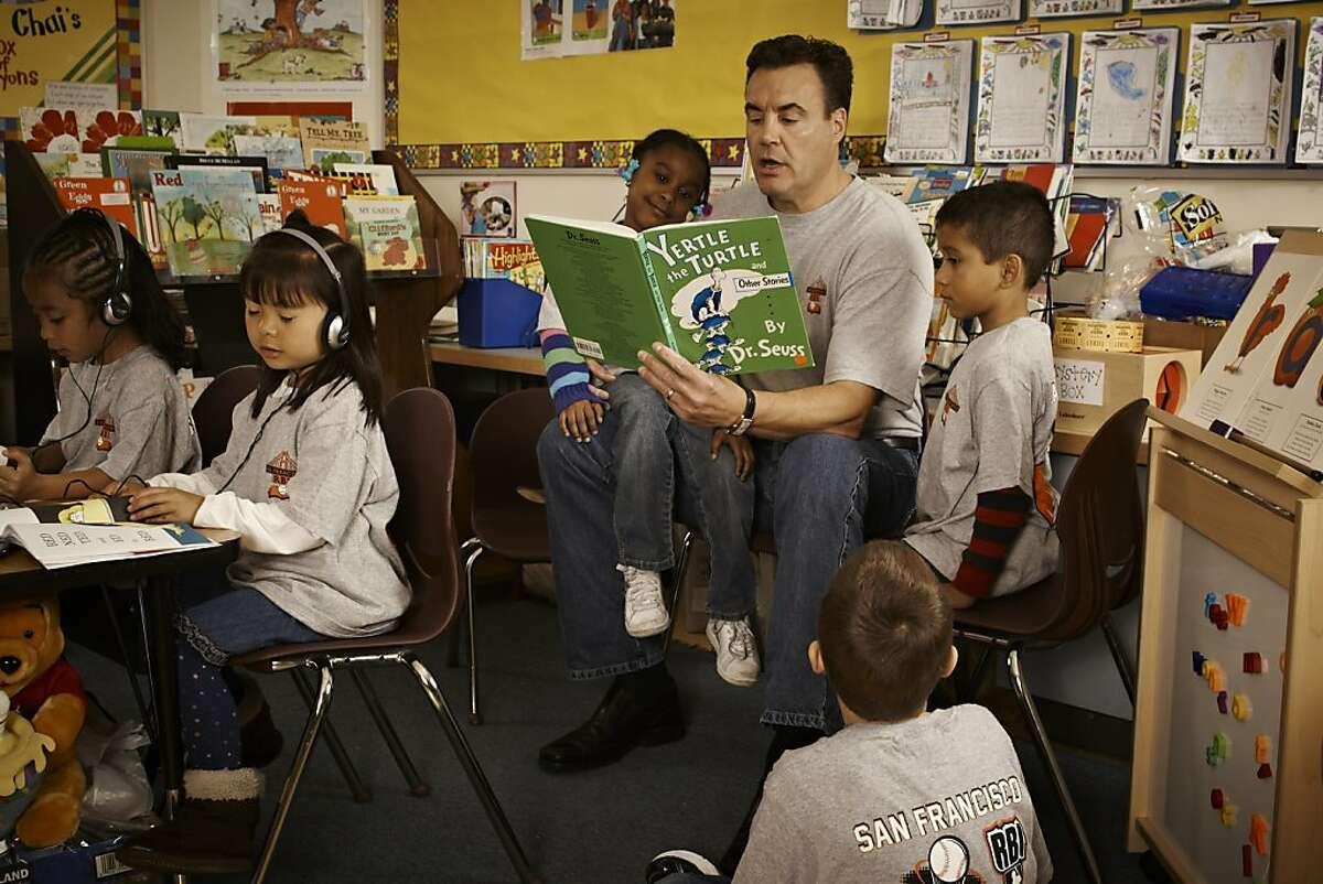 San Francisco RBI founder Jim Messemer reads Dr. Seuss at Bessie Carmichael School in San Francisco.