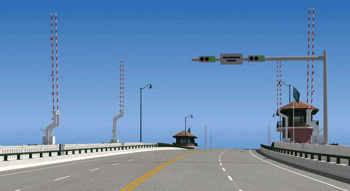 A rendering of the view of the bridge while approaching the center span.