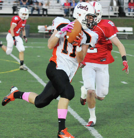 Shelton's Eddie Kochiss carries as Fairfield Prep hosts Shelton High School in a football game at Fairfield University's Alumni Field in Fairfield, Conn., Oct. 5, 2012. Photo: Keelin Daly / Stamford Advocate