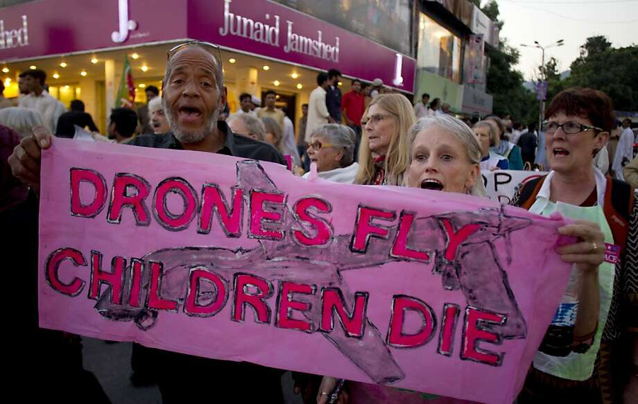 About three dozen members of the U.S. activist group Code Pink plan to march into Pakistan's restricted tribal region to protest U.S. drone strikes in the rugged territory. Photo: B.K. Bangash, Associated Press
