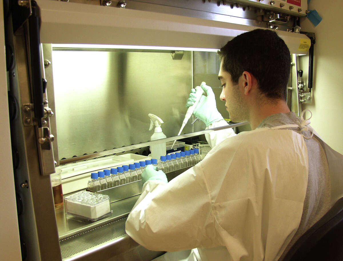 Mitchell Nelson, former seasonal research assistant at the Connecticut Agricultural Experiment Stations, sets up virus isolation cultures under the hood in the biosafety level 3 laboratory.