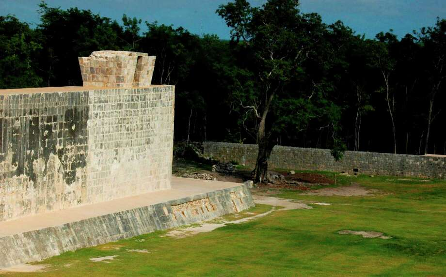 In this undated image released by Mexico's National Institute of Anthropology and History on Oct. 5, 2012, shows a section of a ceremonial ball court at the temples of Chichen Itza on the Yucatan Peninsula, Mexico. Mexican archaeologists say they have determined that the ancient Mayas built watchtower-style structures atop the ceremonial ball court to observe the equinoxes and solstices, and they said that the discovery adds to understanding of the many layers of ritual significance that the ball game had for the culture. (AP Photo/INAH) Photo: INAH