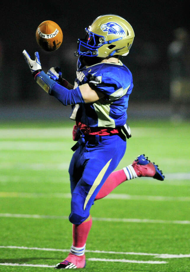 Newtown's Dan Hebert catchest the ball for a touchdown during their game against Brookfield at Newtown High School on Friday, Oct. 5, 2012. Newtown won, 35-7. Photo: Jason Rearick / The News-Times