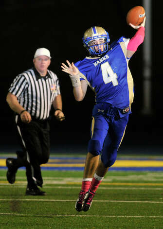 Newtown quarterback Andrew Tarantino throws the ball during their game against Brookfield at Newtown High School on Friday, Oct. 5, 2012. Newtown won, 35-7. Photo: Jason Rearick / The News-Times