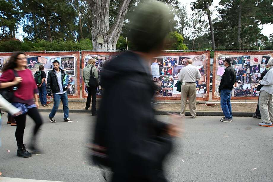 Large picture displays line the main entrance and chronicle the life of Hardly Strictly Bluegrass including the memory of it's founder Warren Hellman. Photo: Luanne Dietz, The Chronicle