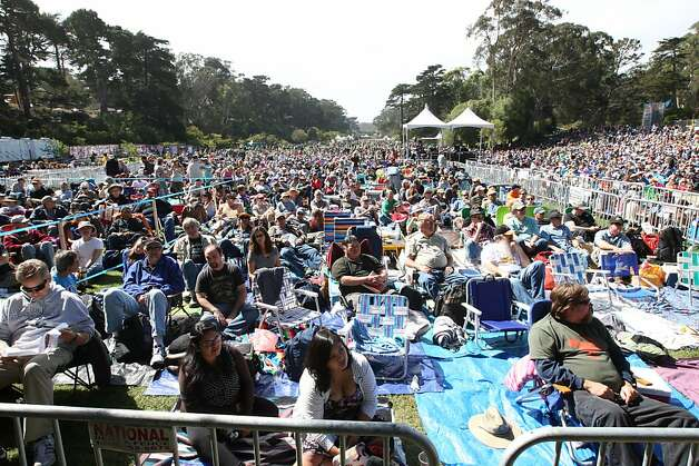Early arrivers to Hardly Strictly Bluegrass secure prime seating at the Front of the Banjo Stage. Friday marks day one of the three day event. Photo: Luanne Dietz, The Chronicle