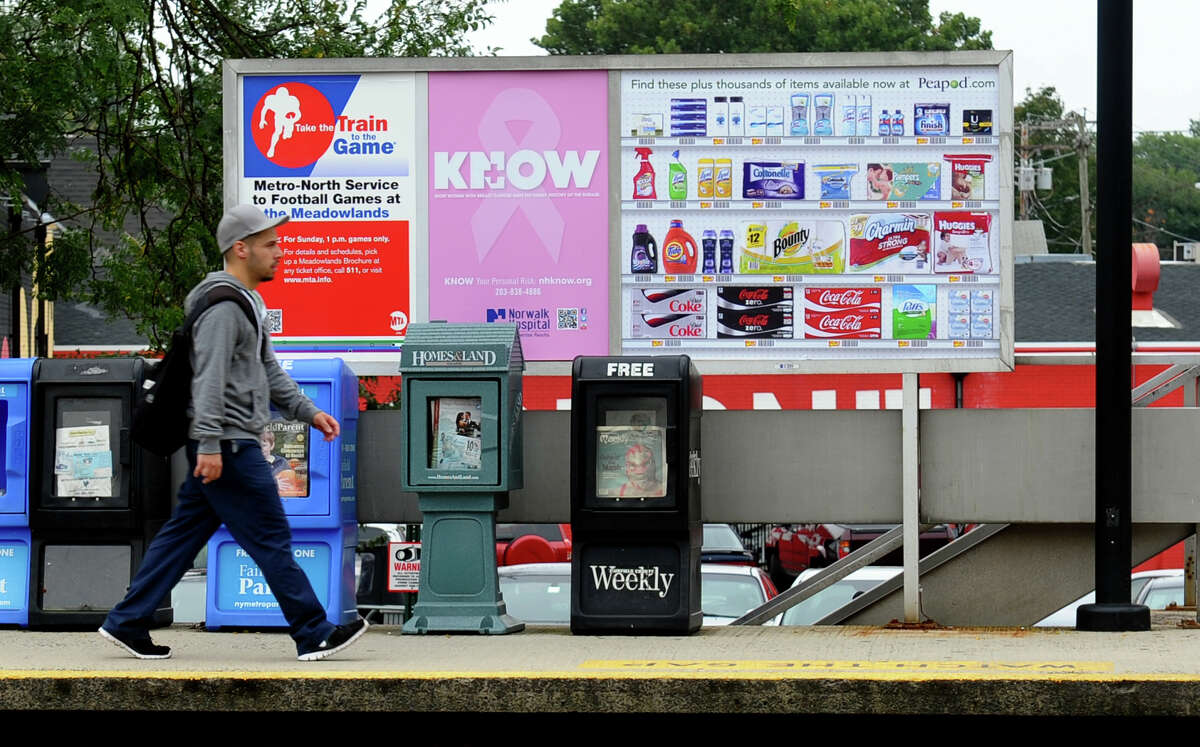 A view of the new interactive billboard featuring Peapod by Stop & Shop, at the train station in Fairfield, Conn. on Thursday October 4, 2012. By scanning the square on the ad, commuters can use their smartphones to shop for items from the store to be delivered right to their homes.
