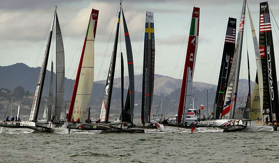 Fleet race two is off and running, during America's Cup World Series match racing in San Francisco, Calif., on Friday October 5, 2012. It was won by Artemis  Racing White, in the center. Photo: Michael Macor, The Chronicle