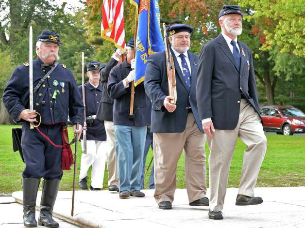 Sons of Union Veterans of the Civil War's Color Guard during the 100th anniversary rededication of the Soldiers and Sailors Monument in Albany's Washington Park Friday Oct. 5, 2012. (John Carl D'Annibale / Times Union) Photo: John Carl D'Annibale