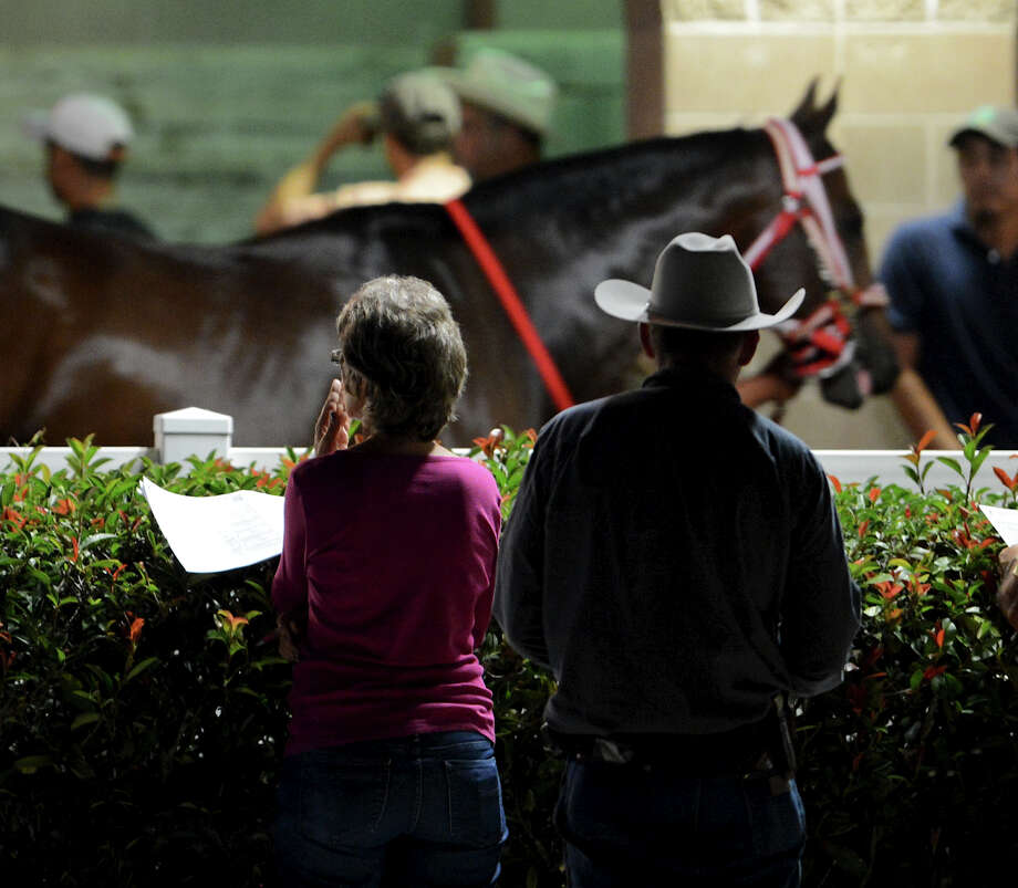 A couple watches horses walk by in the paddock before the fourth race during Retama Park's opening night of the 2012 thoroughbred horse racing season in Selma, Friday, October 5, 2012. John Albright / Special to the Express-News. Photo: JOHN ALBRIGHT, Express-News / San Antonio Express-News