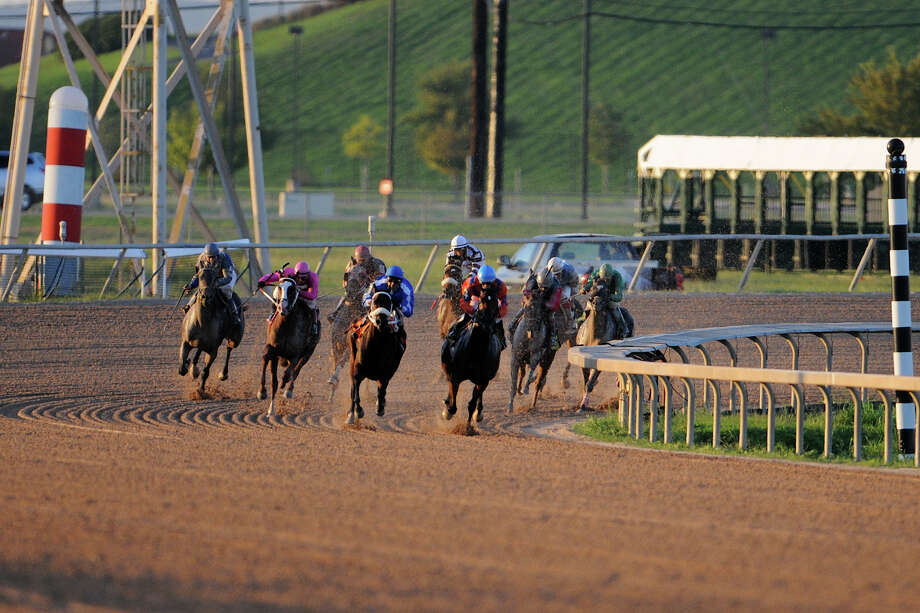 Horses round the far turn  during Retama Park's opening night of the 2012 thoroughbred horse racing season in Selma, Friday, October 5, 2012.