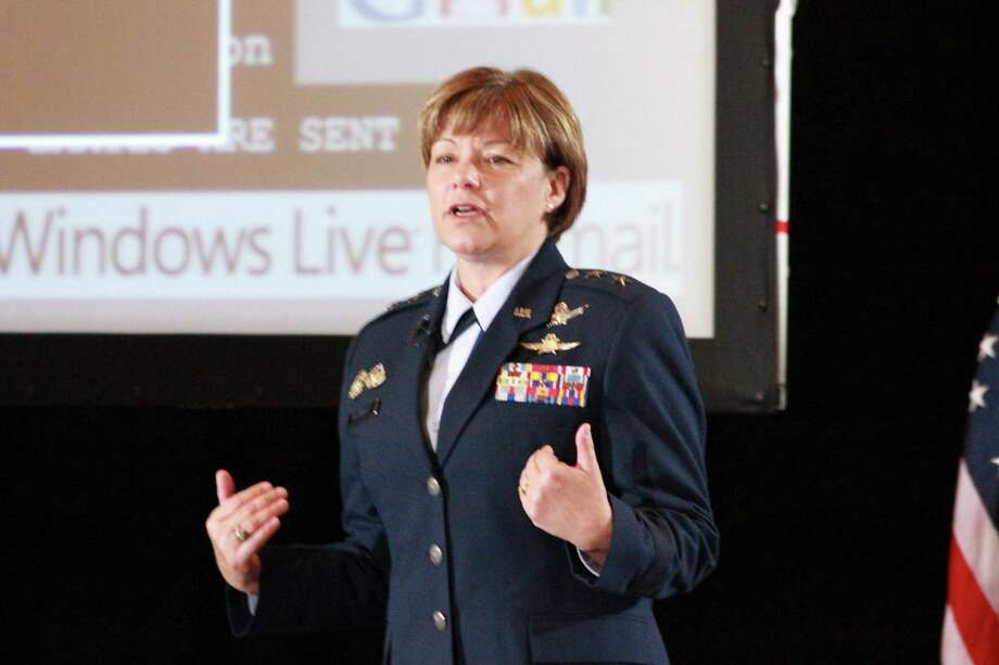 Maj. Gen. Suzanne Vautrinot, the Commander of the 24th Air Force, Air Forces Cyber and the Air Force Network Operations at Lackland AFB, spoke at USAA as part of its month-long observation of Cyber Security Awareness Month. Photo: Jim Norman