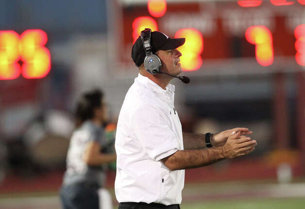 Floresville head football coach Jeff Luna during a game against Harlandale in Floresville, Texas on Friday, Oct. 5, 2012. Photo: Kin Man Hui, Express-News / ©2012 San Antonio Express-News