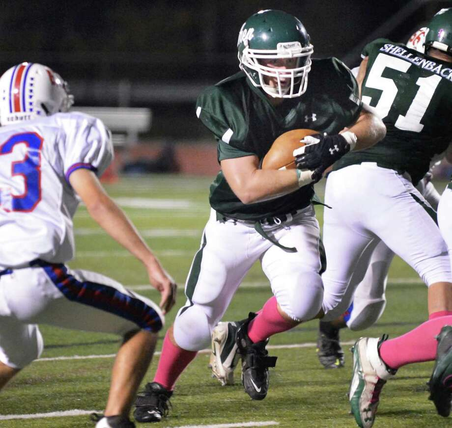 Shen's #42 Lucas Buckley carries the ball in for a TD against Saratoga High during Friday night's game at Shenendehowa Oct. 5, 2012.  (John Carl D'Annibale / Times Union) Photo: John Carl D'Annibale / 00019493A
