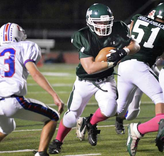 Shen's #42 Lucas Buckley carries the ball in for a TD against Saratoga High during Friday night's ga