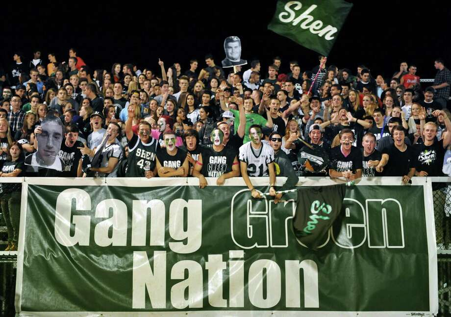 Shen students cheer during Friday night's game with Saratoga High at Shenendehowa Oct. 5, 2012.  (John Carl D'Annibale / Times Union) Photo: John Carl D'Annibale / 00019493A