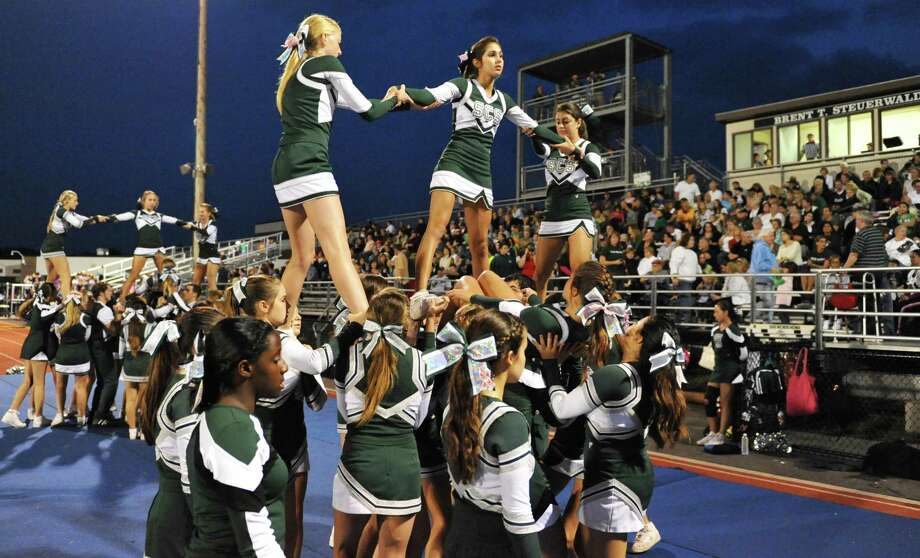 Shen cheerleaders perform during Friday nights game with Saratoga High at Shenendehowa Oct. 5, 2012.  (John Carl D'Annibale / Times Union) Photo: John Carl D'Annibale / 00019493A