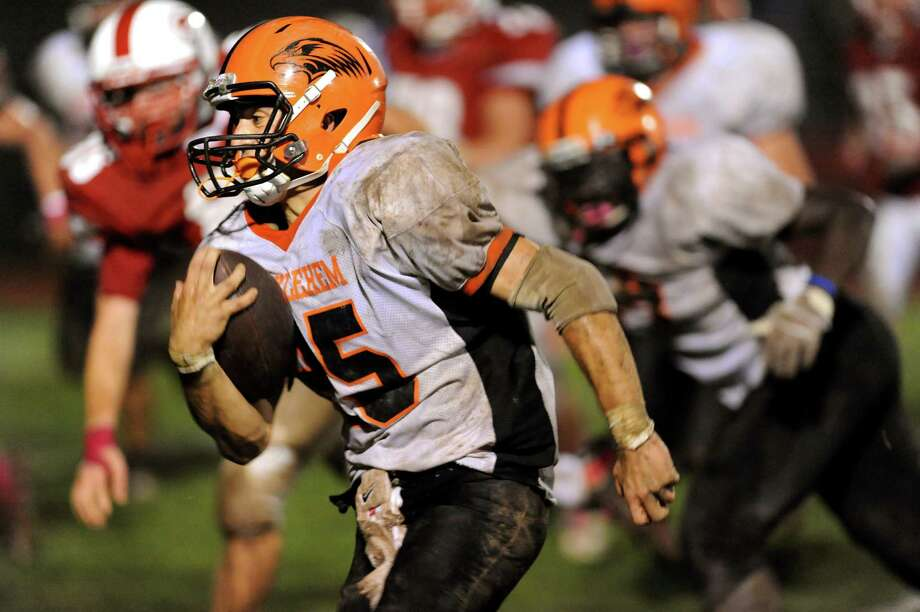 Bethlehem's Mike Graves (25) carries the ball during their football game against Guilderland on Friday, Oct. 5, 2012, at Guilderland High in Guilderland, N.Y. (Cindy Schultz / Times Union) Photo: Cindy Schultz / 00019494A