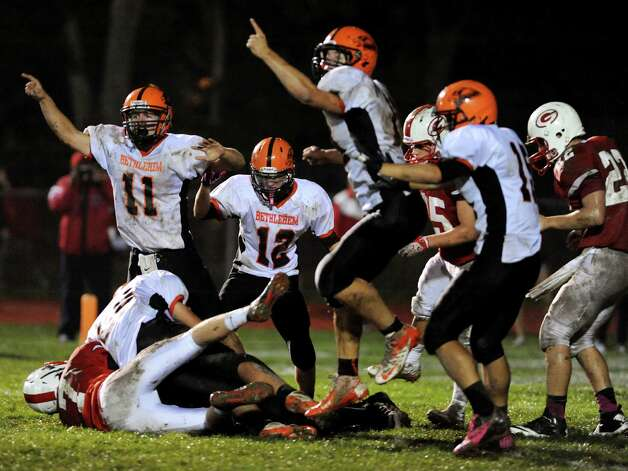 Bethlehem's defense celebrates when they recover a Guilderland fumble during their football game on Friday, Oct. 5, 2012, at Guilderland High in Guilderland, N.Y. (Cindy Schultz / Times Union) Photo: Cindy Schultz / 00019494A