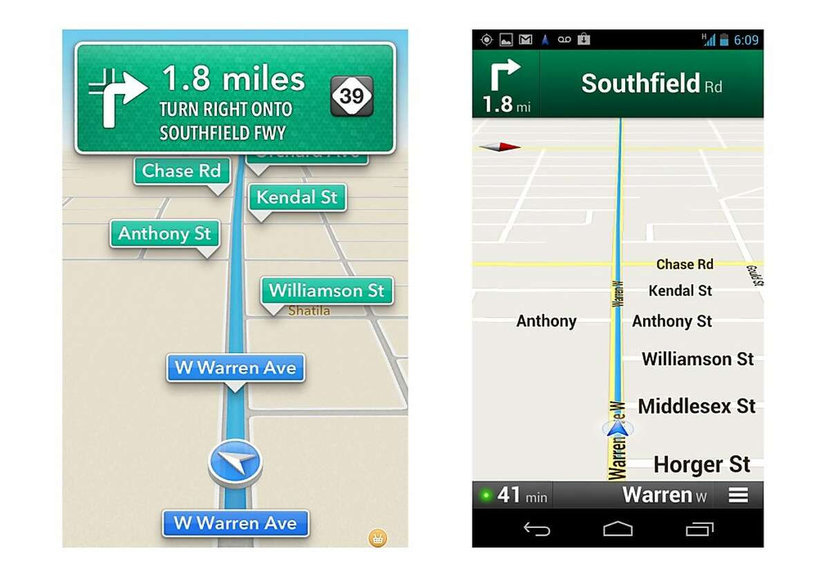 These screenshots taken Monday, Oct. 1, 2012 show Apple's maps app on an iPhone, left, and Google's on an Android device during a drive in Dearborn, Mich. Both have voices guiding motorists to upcoming turns, in this case onto Southfield Road in about two miles. An AP review finds the Google app, on the right, having more features, though Apple's app does a good job for the most part getting people to their destination. (AP Photo)