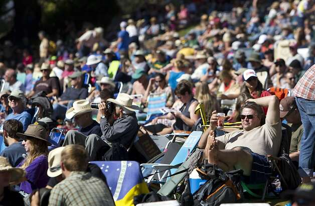 Music fans pack Hellman Hollow in Golden Gate Park to listen to music coming from the Banjo Stage at Hardly Strictly Bluegrass in San Francisco, Calf., on Saturday, October 6, 2012. Photo: Laura Morton, Special To The Chronicle