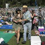 Kimberly Bell and James Belden dance to music by the World Famous Headliners who were performing on the Banjo Stage at Hardly Strictly Bluegrass in Golden Gate Park in San Francisco, Calf., on Saturday, October 6, 2012.