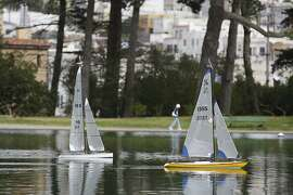On October 5, 2012 in San Francisco Calif. at Golden Gate Park, Rich Styles sails the Coup De Gras (left) while Michael Fischer sails the Wind Horse on Spreckles Lake Friday morning.