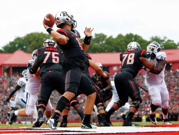 PISCATAWAY, NJ - OCTOBER 6: Quarterback Gary Nova #15 of the Rutgers Scarlet Knights looks to pass from the end zone against the Connecticut Huskies during a game at High Point Solutions Stadium on October 6, 2012 in Piscataway, New Jersey. Rutgers defeated Connecticut 19-3. (Photo by Rich Schultz /Getty Images) Photo: Rich Schultz, Getty Images / 2012 Getty Images