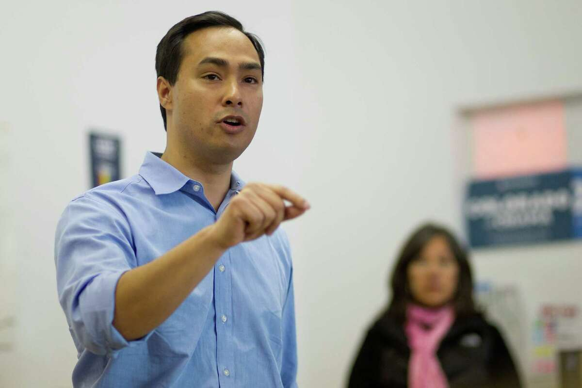 Texas state Rep. Joaquín Castro addresses a crowd of volunteers at the Obama for America West office in Denver, Saturday, Oct. 6, 2012, before the group begins canvasing the streets to register people to vote in the Nov. 6 general election.