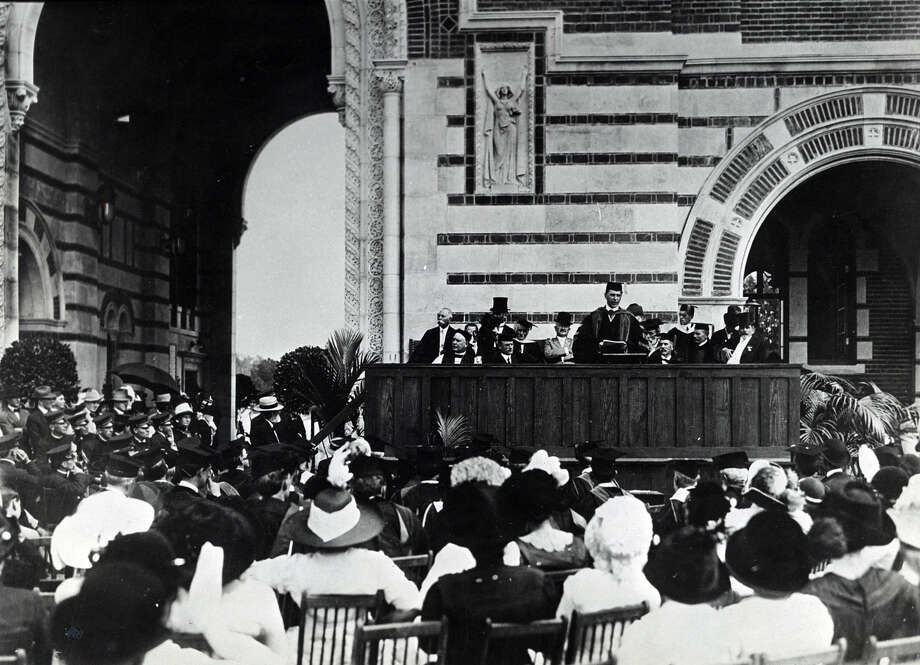 """For this fair day we have worked and prayed and waited."" Dr. Edgar Odell Lovett's words gripped the distingueshed audience at the Rice Institute formal dedication ceremony, Oct. 12, 1912. Photo: Houston Chronicle File Photo"