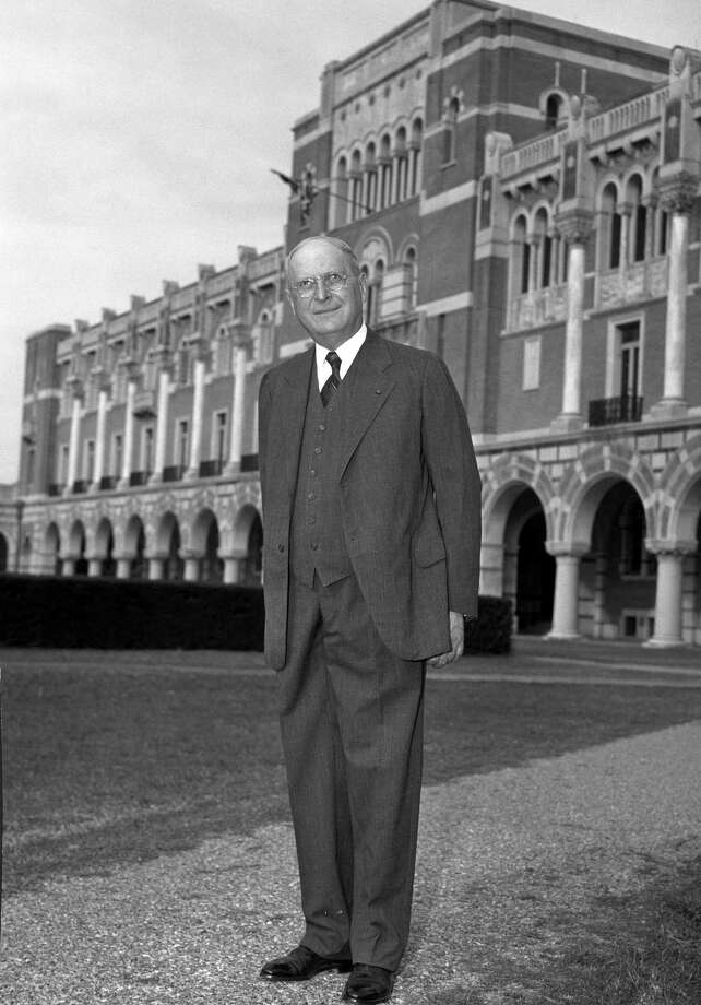Dr. Edgar Odell Lovett, President Emeritus of Rice Institute (now Rice University) standing in front of Lovett Hall on December 5, 1947. Photo: UNKNOWN, Chronicle File Photo / handout